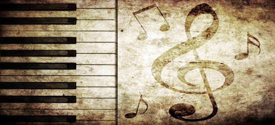 musical background with piano keys and musical notes